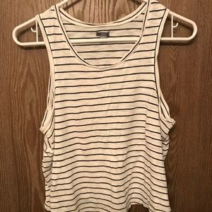 Aerie White and Navy Striped Muscle Tank